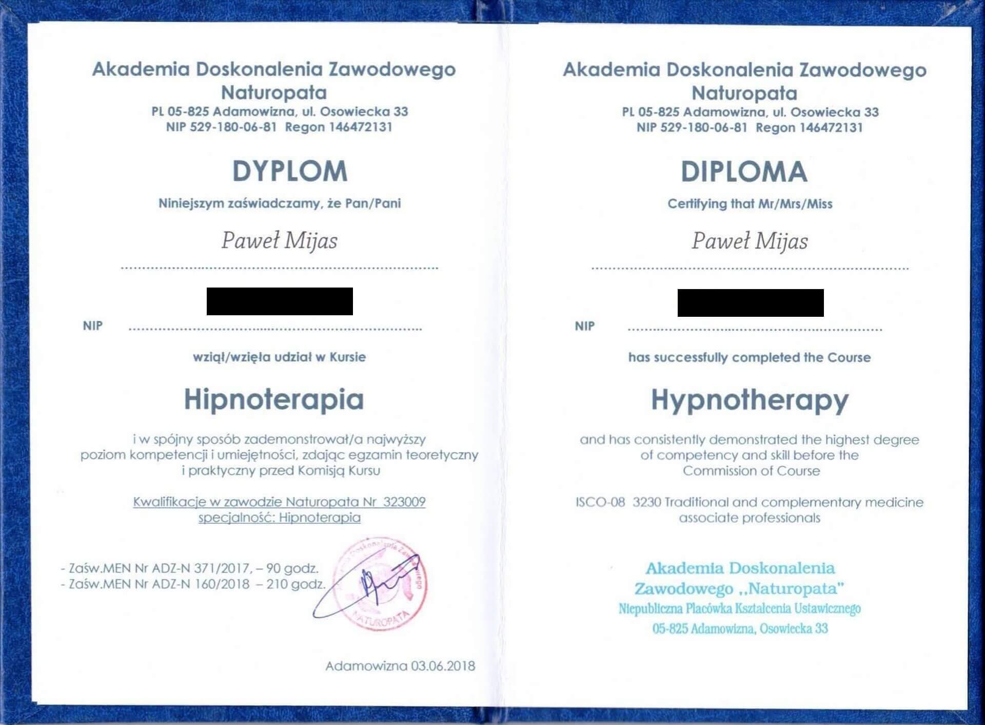Dyplom Kurs Hipnoterapia